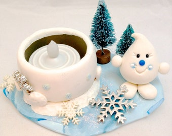 TEA LIGHT Winter Wonderland Parker Candle Holder - Snow Pile Polymer Clay Limited Edition Sculpture