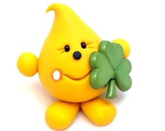 Saint Patrick's Day PARKER with Shamrock Figurine - Polymer Clay Character Figurine
