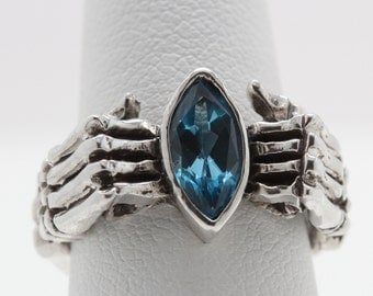 Skeleton Hand Marquise Ring Swiss Blue Topaz in Sterling Silver Polished or Black