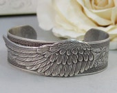 Angel Wing,Bracelet,Cuff,Silver Bracelet,Cuff Bracelet,Bracelet,Silver,Angel,Wing,Wedding,Bride.Handmade Jewelry by valleygirldesigns.