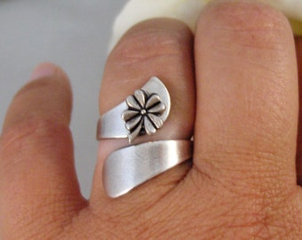 Lucky Ring,Ring,Silver,Irish,Shamrock,Antique Ring,Silver Ring,Spoon Ring,Clover,Wedding, Handmade jewelery by valleygirldesigns.