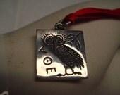 Vintage 1970's Greek Island  owl design in sterling silver necklace penandts