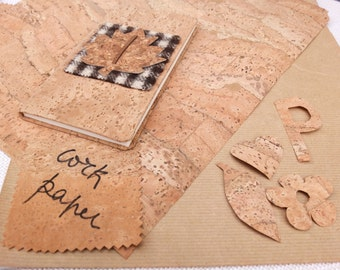 """Cork sheet for paper works, cork and Kraft paper, eco-friendly, bookbinding, scrapbooking, cartonnage, labels, tags 50x50cm, 20""""x20"""""""
