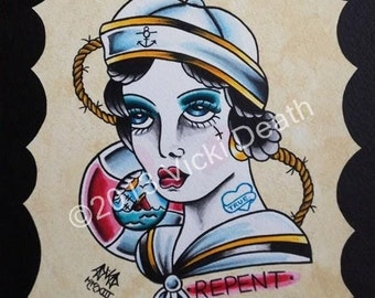 Repent Sailor Girl Original Tattoo Painting