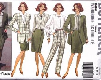 Jacket ~ Blouse ~ Pants ~ Skirt Pattern ~ Butterick 6349  Misses Combination Sizes 12 ~ 14 ~ 16 ~ Executive Wardrobe Pattern ~ Uncut