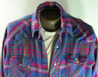 wrangler pearl snap shirt mens large cowboy rockabilly vintage blue red white striped