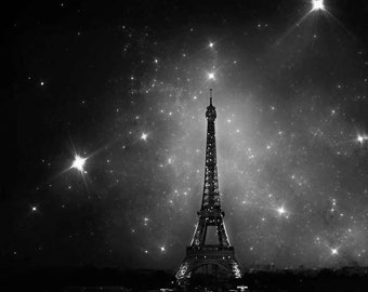 Eiffel Tower Print, Paris Decor, Black White Photo, Paris Wall Art, Stars, Paris Night Sky, Eiffel Tower Stars