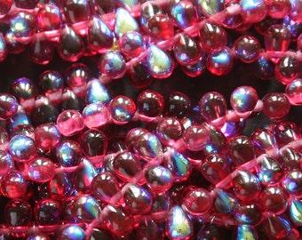 6x4mm Teardrop Beads - Jewelry Making Supply - Fuschia AB (50 Beads) Aurora Borealis - Czech Glass Beads