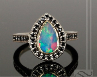 Fiery Opal and Black Spinel Halo Ring in Solid 14k Gold