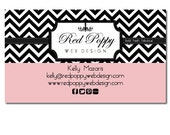 Premade Business Card Design, Digital Business Cards, Chevron Black White Peach Pink, Print at Home or Online Business Card Template