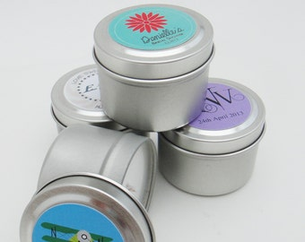 Wedding Favors Natural Pure Certified Essential Oil Soy Candles Travel Tin with Personalized Label