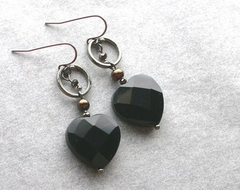 Black Obsidian Heart Earrings -The Lothario- As Gifted to the Press at GBK's 2013 Emmys Gift Lounge, Black, Gunmetal, Milk Chocolate