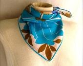 Silk Turquoise Periwinkle Brown Fall Vintage Vera Scarf