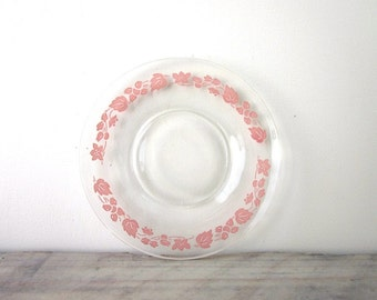 Clear Glass Bread and Butter with Pink Floral Pattern