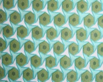 Op art knit fabric. 5 yards of retro fun. Geometric, olive, green, aqua, white, groovy.