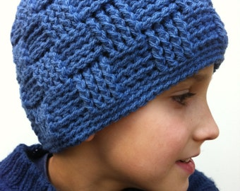 Boys Crochet Hat Pattern No.124 Basket Weave Baby Toddler Child Kid Mens