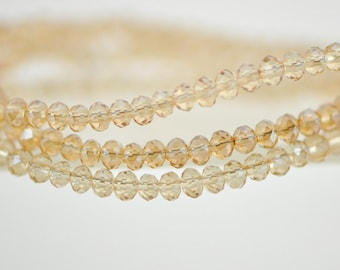 Crystal Glass Rondelle Faceted beads 2x3mm Champagne -BZ0307/ 145pcs