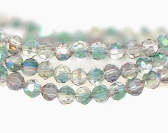 Round Crystal Glass Faceted beads 4mm Green Rose -(32QZ04-27)/ 95pcs