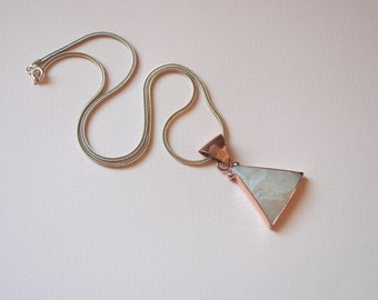 Moonstone  Pendants Solid Sterling Silver Pink Gold Plated  Necklace Sterling Silver Chain