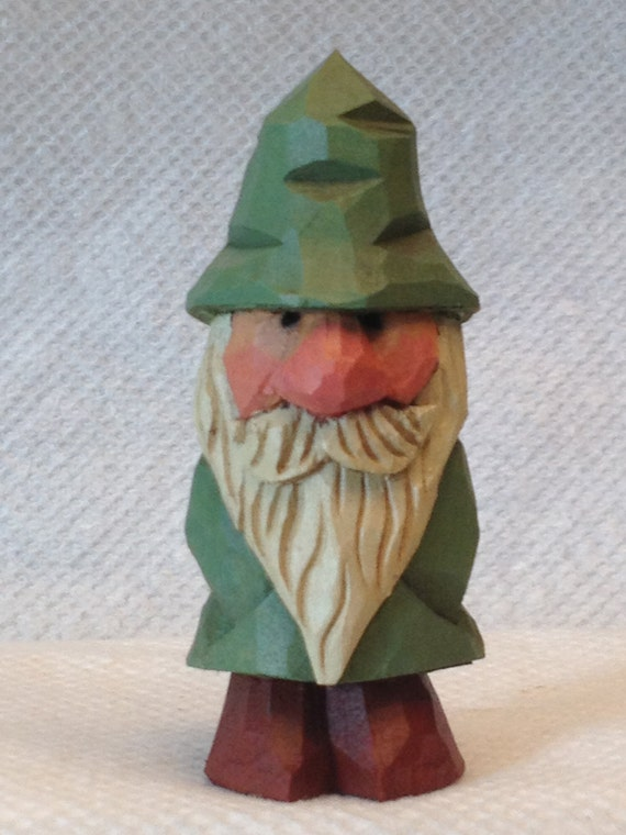 Hand carved handmade miniature garden gnome wood carving