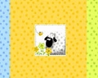 "LEWE the EWE  Sheep ~ 100% Cotton Fabric ~ Pillow PANEL ~ 15"" x 43"" by Susybee ~ 3 Different Sheep Designs per Panel"