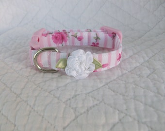 Shabby Chic Pink Roses  Dog Collar