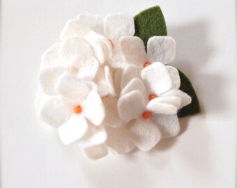 Sale--Ivory hydrangea felt flower clip and pin for winter fashion. Ready to ship