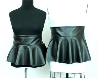 Faux Leather Peplum Belt Adjustable