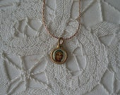 Vintage Gold Tone Religious Charm Medal of Virgin Mary
