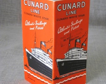 Cunard , Vintage Cunard , Cruise Lines , Schedule and Fares , Booklet , Cruise Ship , Ocean Liner , Ocean Travel , Loose Art , Paper