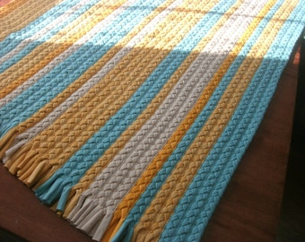 "37""x 54"" shades of mint aqua deep yellow and cream braided rug"