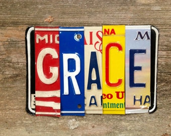 GRACE recycled license plate art sign tomboyART Made in America humble soul peace welcome