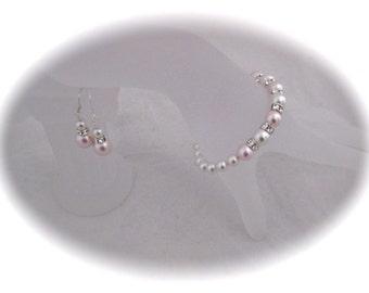 Pink Pearl Jewelry SET Wedding Bracelet Bridal Jewelry Set Bridesmaid bracelet and Earrings Wedding Gift Ideas