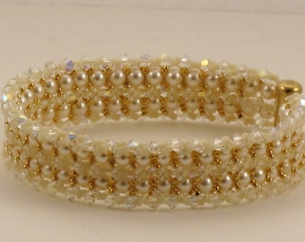 Swarovski Cream Pearl and Crystal AB with Gold Woven Bracelet - 7 inches