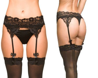 Black Lingerie- Lace Garter Belt