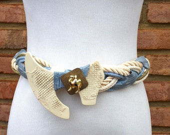 FREE SHIPPING Vintage  Blue White Beige Gold Rope belt