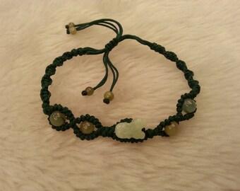 Mini Dog / Natural Jade Bracelet / Handknotting Jewelry