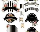 Labels and Banners Black and white striped black and white with roses Digital