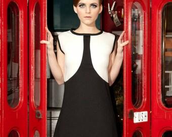 London Calling Black and White Dress