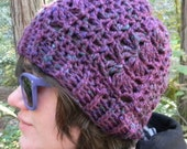 Crocheted Slouchy Beanie in Shades of Berry