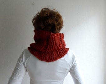 Chunky Cowl Loop Scarf Hood Neckwarmer Hand Knit Big Cowl in Brick Red Unisex Fall Autumn Winter Accessories
