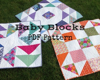 PDF quilt pattern -- Baby Blocks- three design variations in ONE pattern-- bonus pillow cover instructions