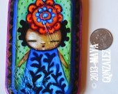 miniature acylic painting blue dress orange flower maya gonzalez