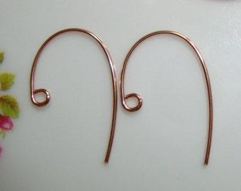 14K Rose Gold Filled Bass Clef Ear Wire, 10 pcs, 20x12mm, 20 gauge - EW-0025