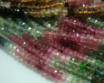 26% OFF, 1/2 Strand, 3.5-4mm, Gorgeous Sparkling Watermelon Tourmaline Faceted Rondelles, Green, Pink, Blue, Black, Petro, Multi