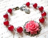Red Bracelet Romantic Jewelry Red Rose Bracelet Gift For Her Red Flower Bracelet Red Rose Jewelry Red Beaded Bracelet Gift For Girlfriend