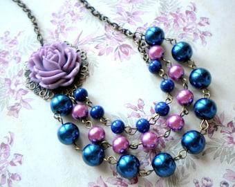 Purple Necklace Flower Necklace Purple Bridesmaid Necklace Bib Purple Flower Necklace Purple Statement Necklace Purple Wedding Jewelry