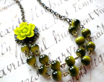 Flower Necklace Olive Necklace Flower Jewelry Bridesmaid Gift Green Bridesmaid Necklace Flower Garden Wedding Green Jewelry