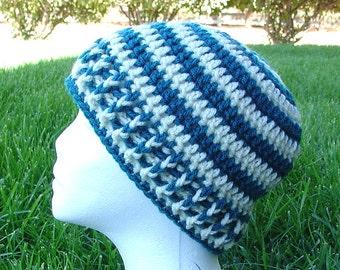 Handmade Crochet Beanie Cap Teal Green Cream Hat
