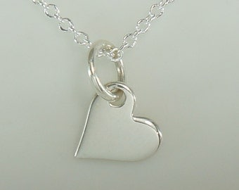 Tiny Sterling Silver Heart Charm Necklace-Free US Shipping